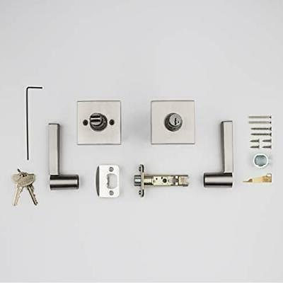 Baldwin Lever Garage or Office Door Satin Nickel
